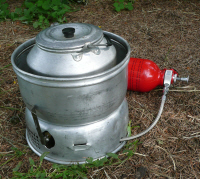 Picture of Trangia with kettle & multi-fuel burner, with control valve at the front