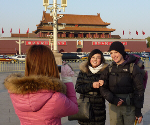 We flew home via Beijing, and even without the bike were still the centre of attention with strangers wanting their photos taken with us.  Must be our natural charm and charisma.