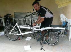 My first experience of a bike rebuild, Budapest campsite, August 2011