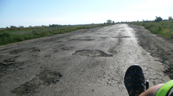 Even sealed roads can be rough in some countries, Ukraine, Sept 2011