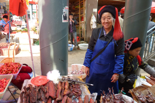 We bought some mouthwateringly good preserved meat from this lady.