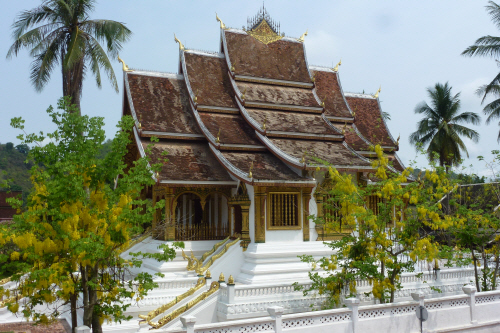 Haw Pha Bang temple in the grounds of the old Royal Palace.