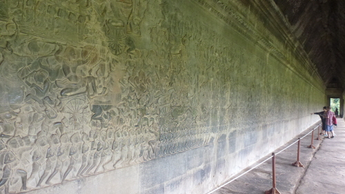 Some of the miles of bas relief at Angkor Wat.