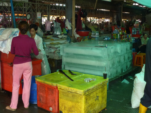 Ice at Phnom Penh's Central Market - it was fed into machines that crushed and bagged it, and it was then sold on to bars and restaurants for putting in drinks.
