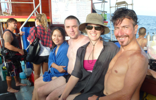 Spring, Duncan, Tamar and Keith on board the Sea Cutter (with Scuba Steve in the background). Arrr, me hearties!