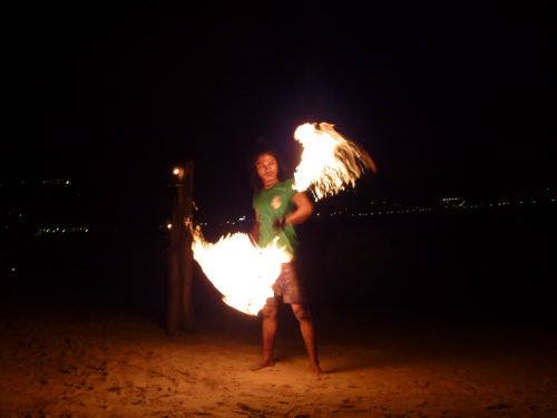Post-dive entertainment on the beach.