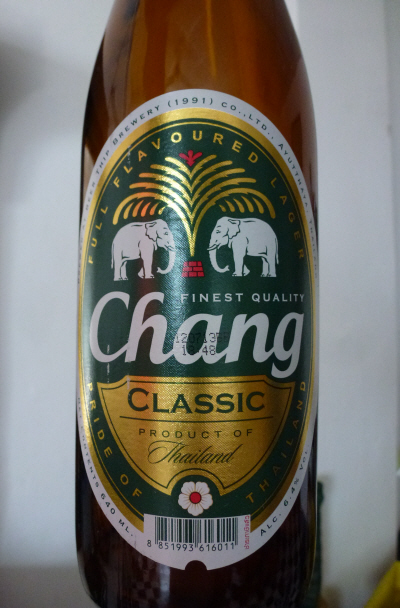 Chang Beer.  At 6.5%  beware of the next morning's changover. Also, Chang means elephant in Thai.