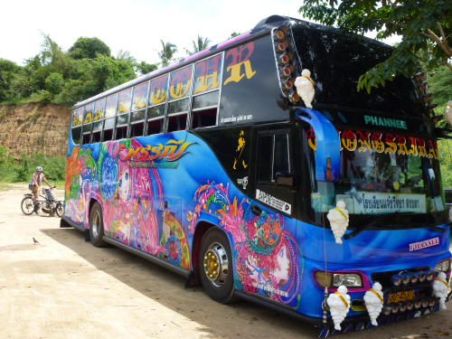 Fantastically decorated luxury coaches complete with on-board karaoke (hell on wheels).