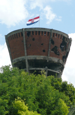 Vukovar's shell-damaged water tower, now preserved as a symbol of the conflict.