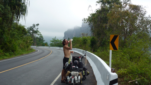 It was predictably thirsty work on the climb...