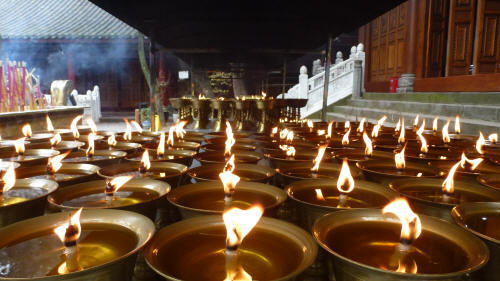 Oil lamps at the temple