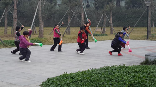 End of a Fan Dance in a Chengdu park