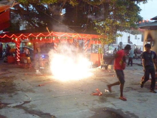 Firecrackers at the Goddess of Mercy Temple – don't get too close!