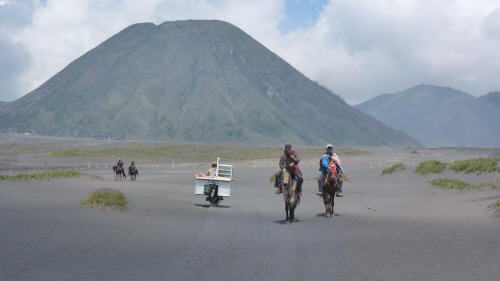 Looking across the Sea of Sand at Gunung Batok (a less active cone adjacent to Gunung Bromo.
