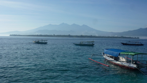 Looking across from Gili Meno to Mount Rinjani on Lombok.