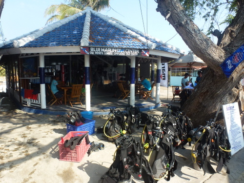 "Blue Marlin Dive, our ""office"" on Gili Meno."
